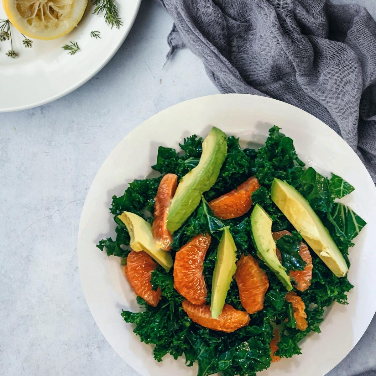Kale, Orange, Avocado salad with ginger limedressing